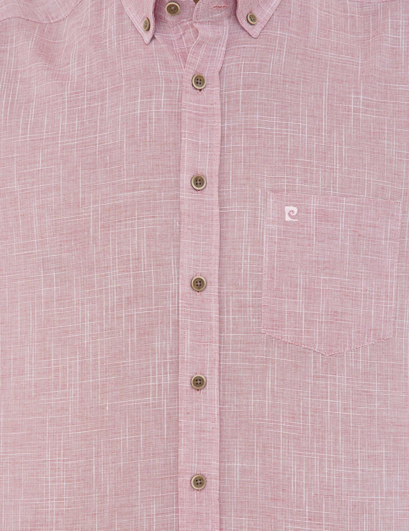Bordo Regular Fit Keten Görünümlü Kısa Kollu Gömlek