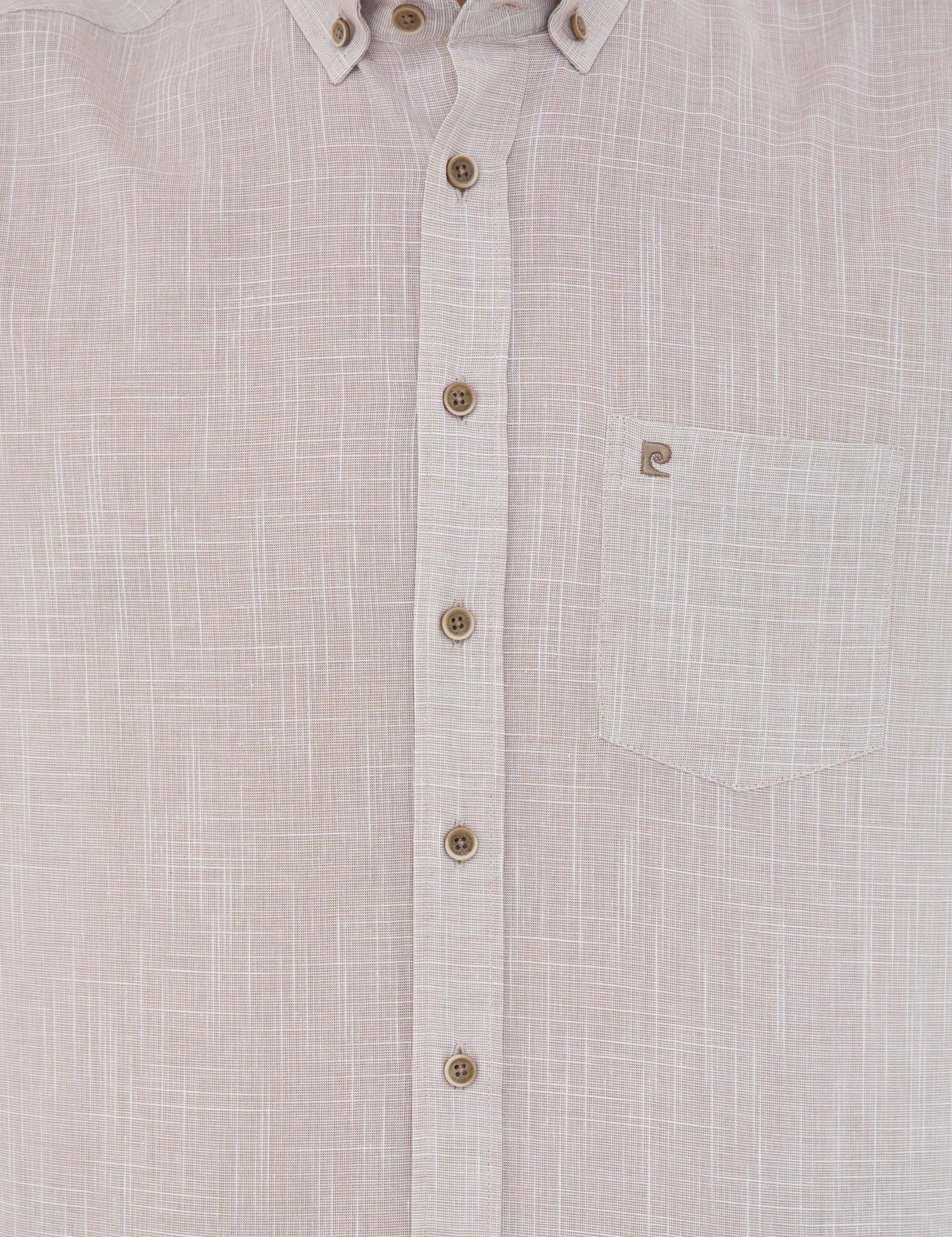 Bej Regular Fit Keten Görünümlü Kısa Kollu Gömlek