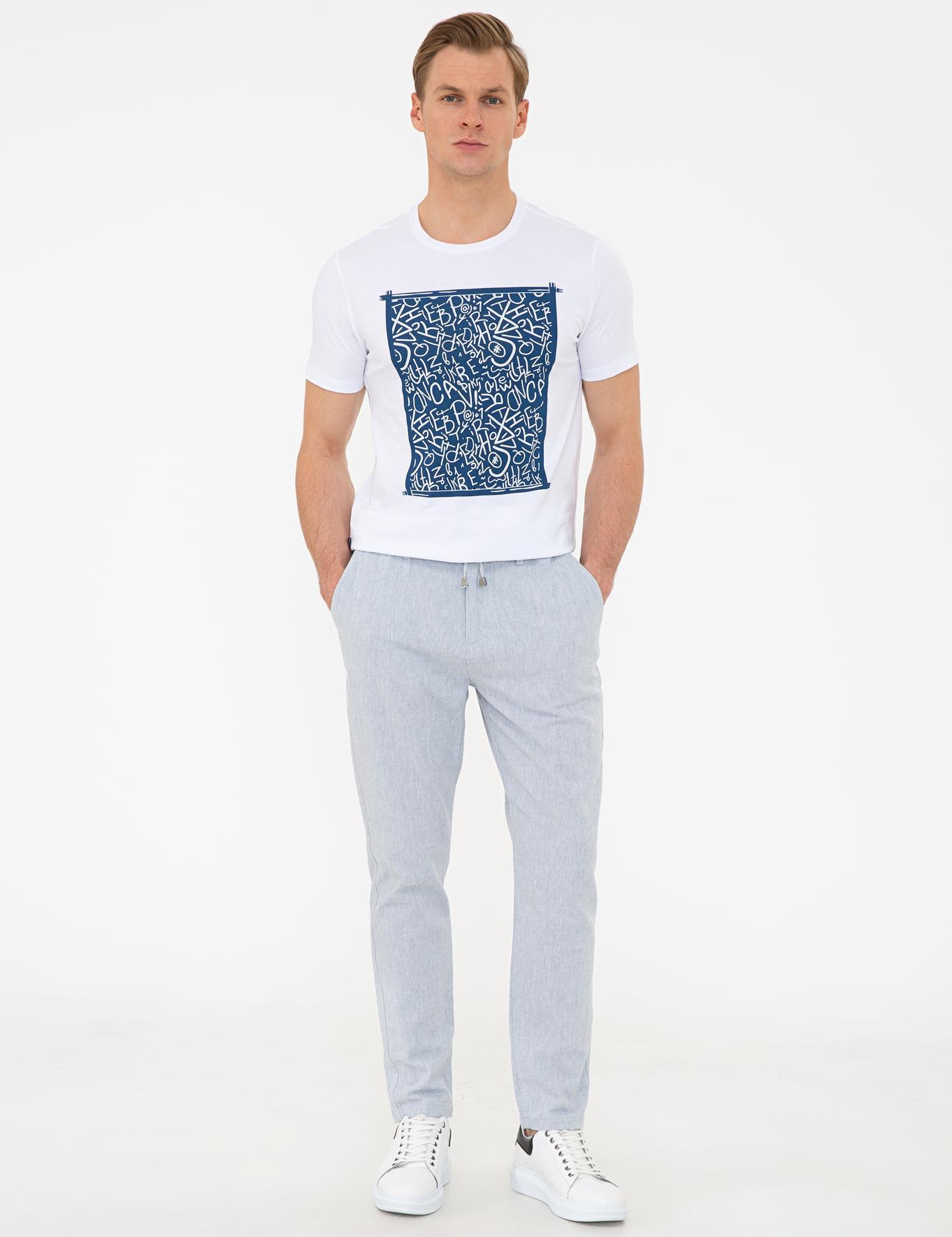Açık Mavi Carrot Fit Chino Pantolon
