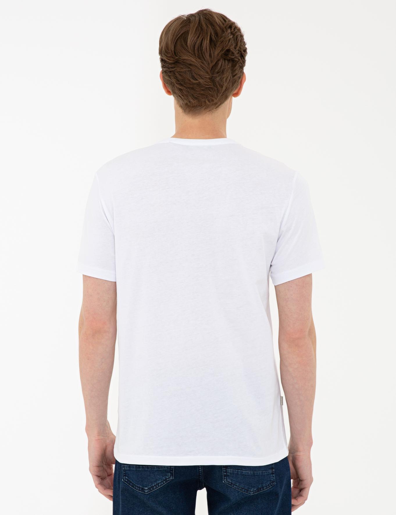 Beyaz Slim Fit Basic V Yaka T-Shirt
