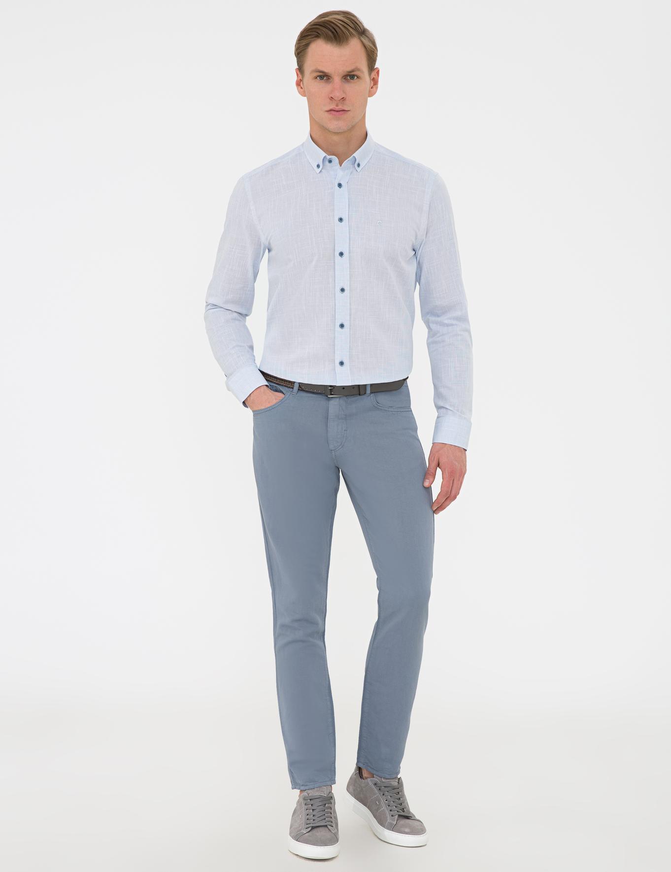 Açık Mavi Slim Fit Keten Görünümlü Gömlek