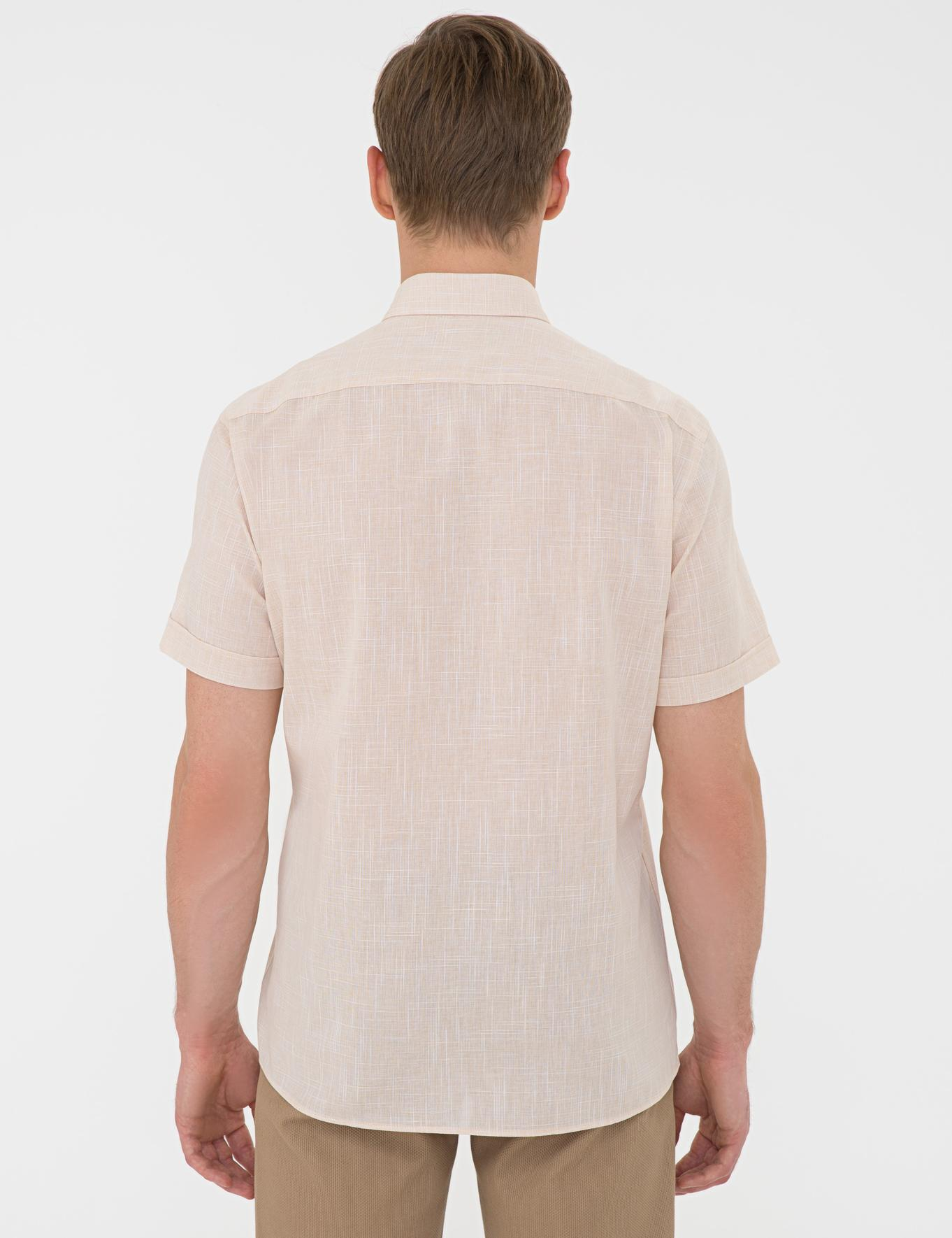 Açık Sarı Regular Fit Keten Görünümlü Kısa Kollu Gömlek