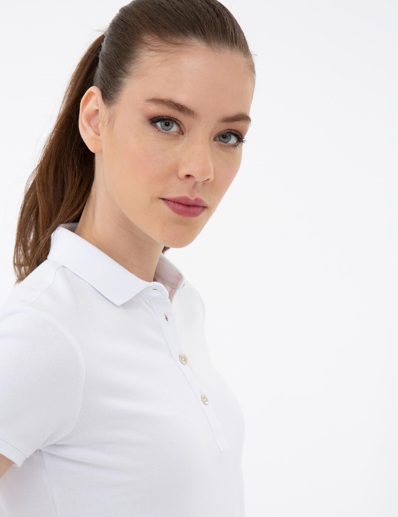 Beyaz Slim Fit Polo Yaka T-Shirt