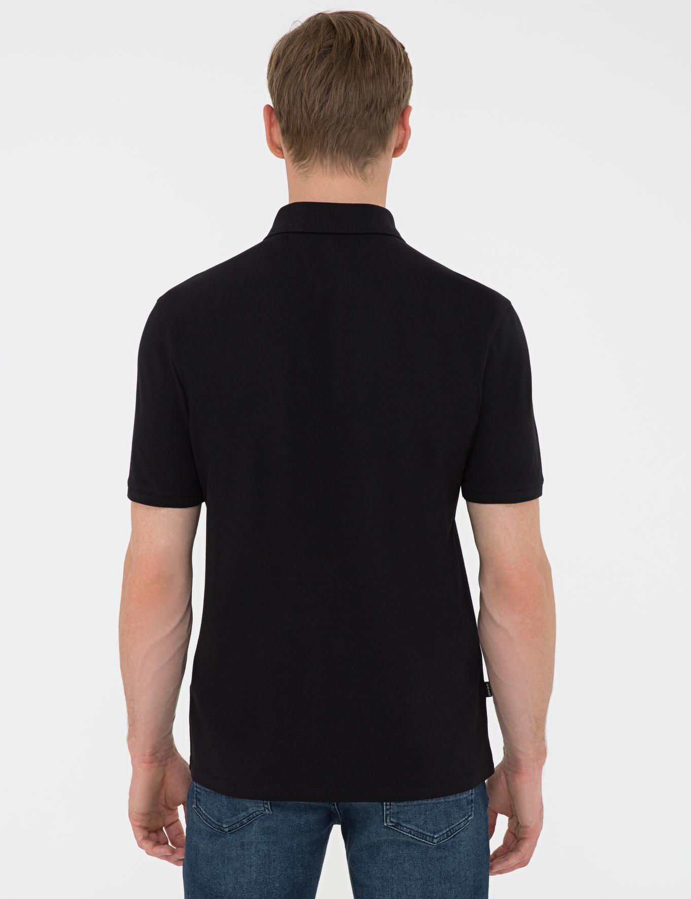 Siyah Regular Fit Basic Polo Yaka T-Shirt