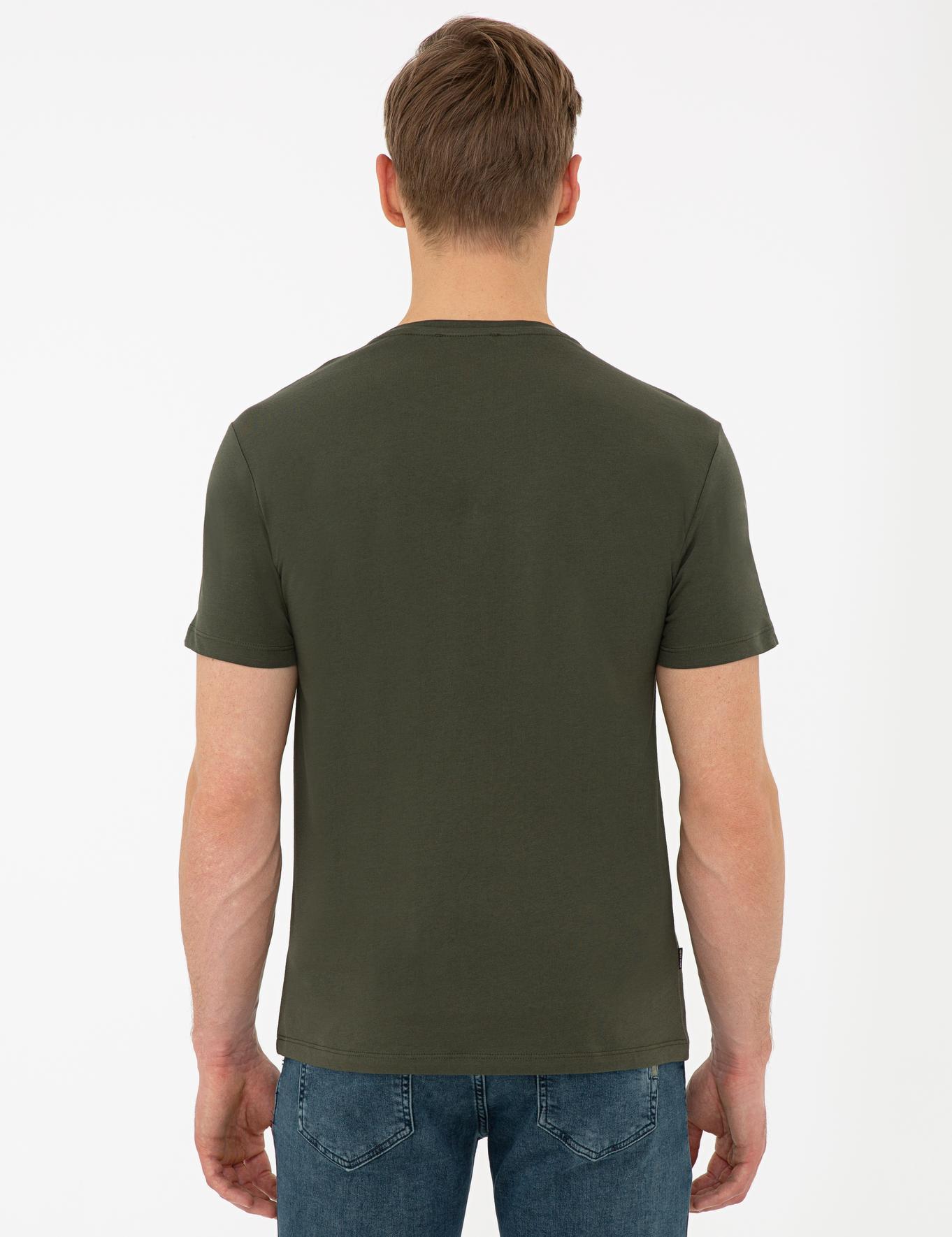 Haki Slim Fit Bisiklet Yaka T-Shirt