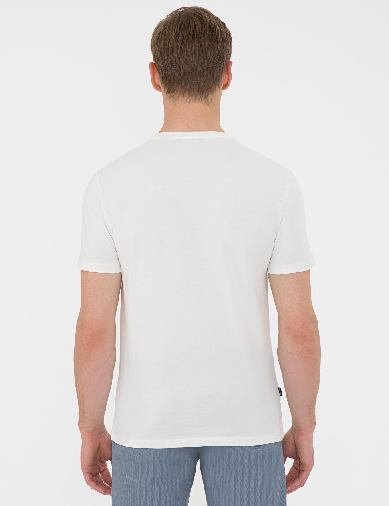 Ecru Slim Fit Bisiklet Yaka T-Shirt