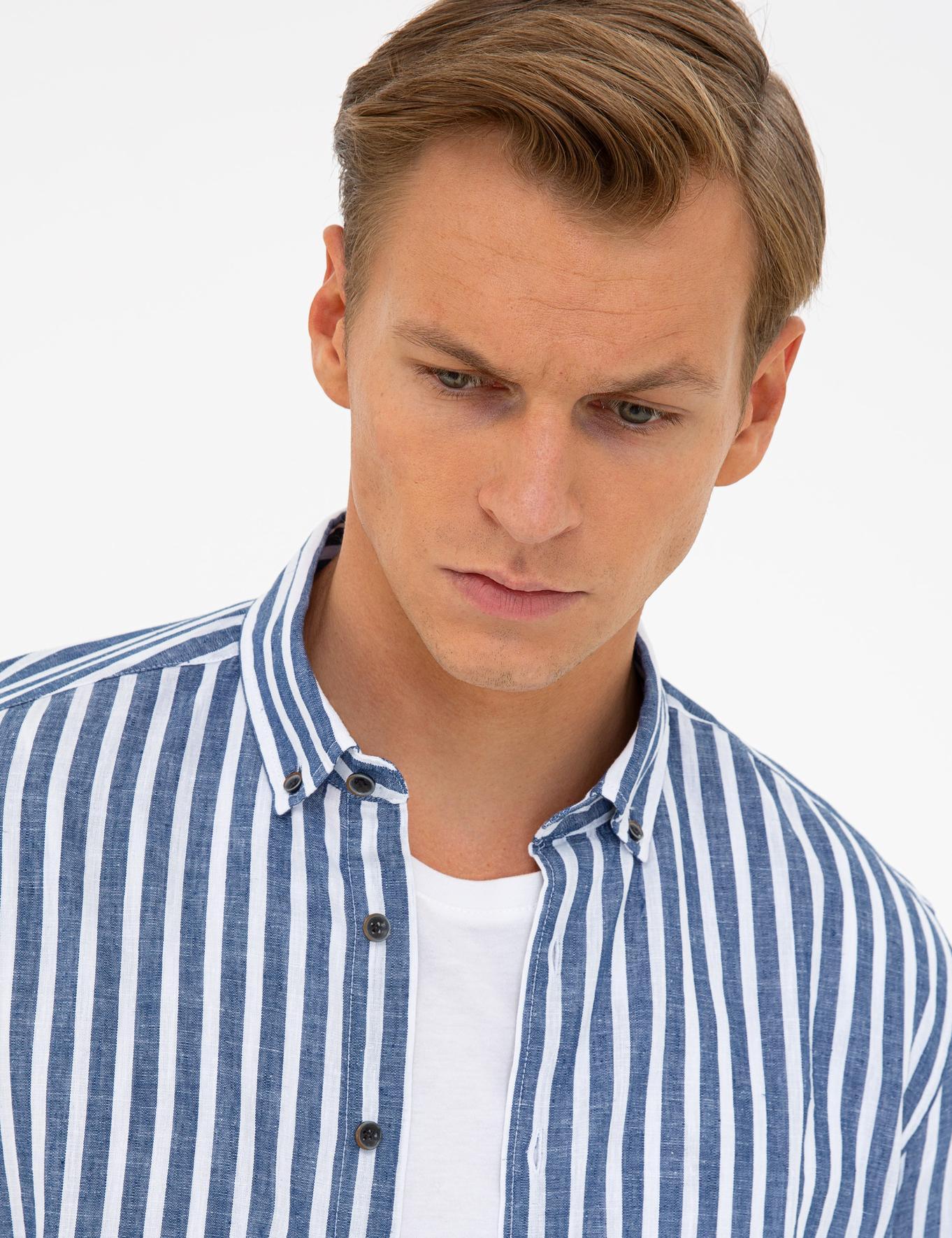 Lacivert Regular Fit Keten Karışımlı Gömlek