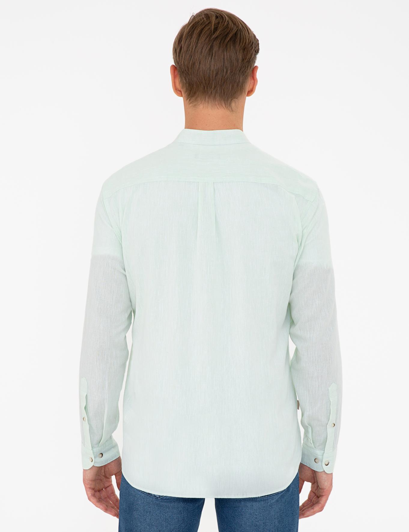 Açık Yeşil Regular Fit Keten Karışımlı Gömlek