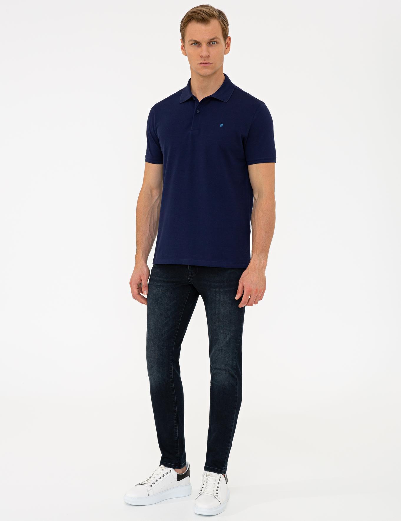Lacivert Slim Fit Basic Polo Yaka T-Shirt