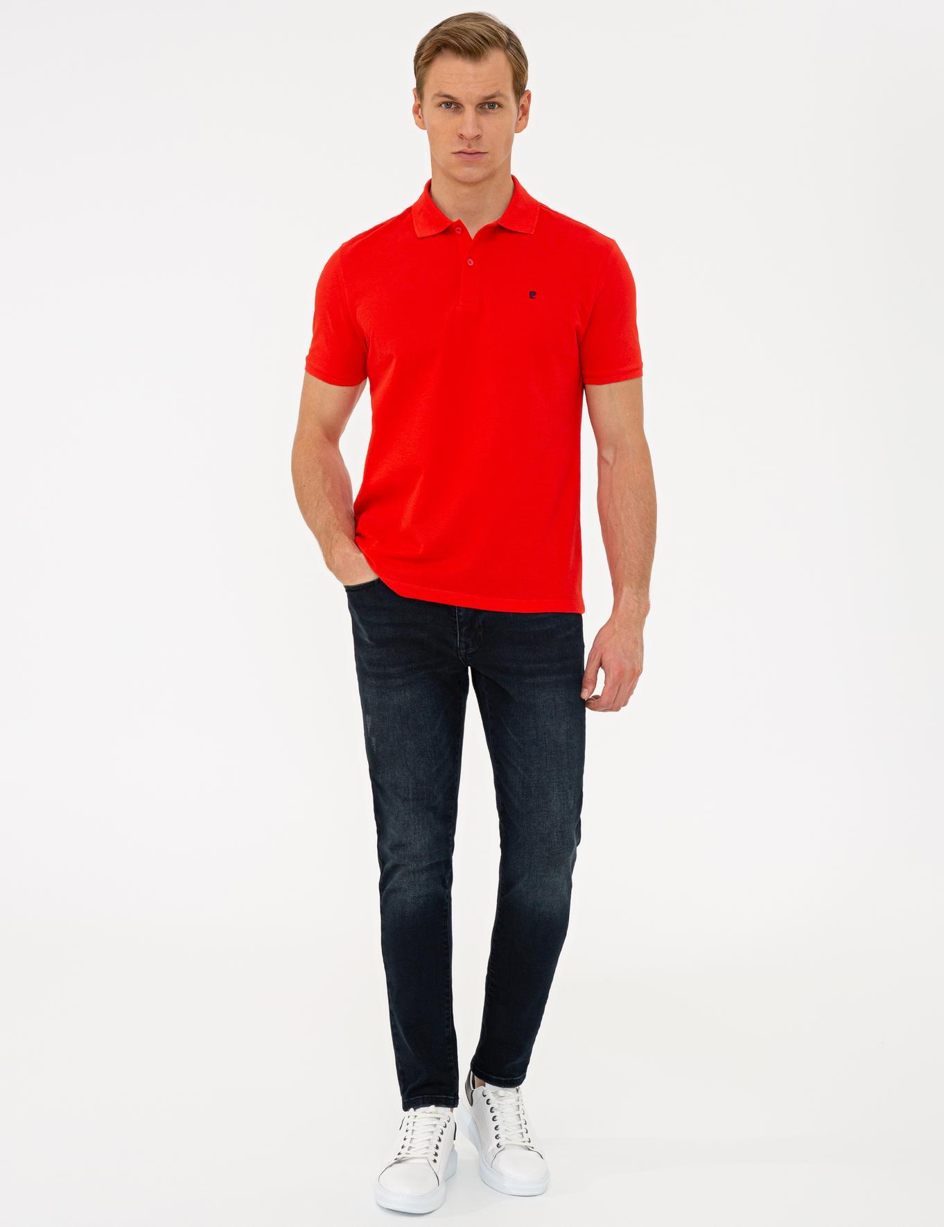 Nar Çiçeği Slim Fit Basic Polo Yaka T-Shirt