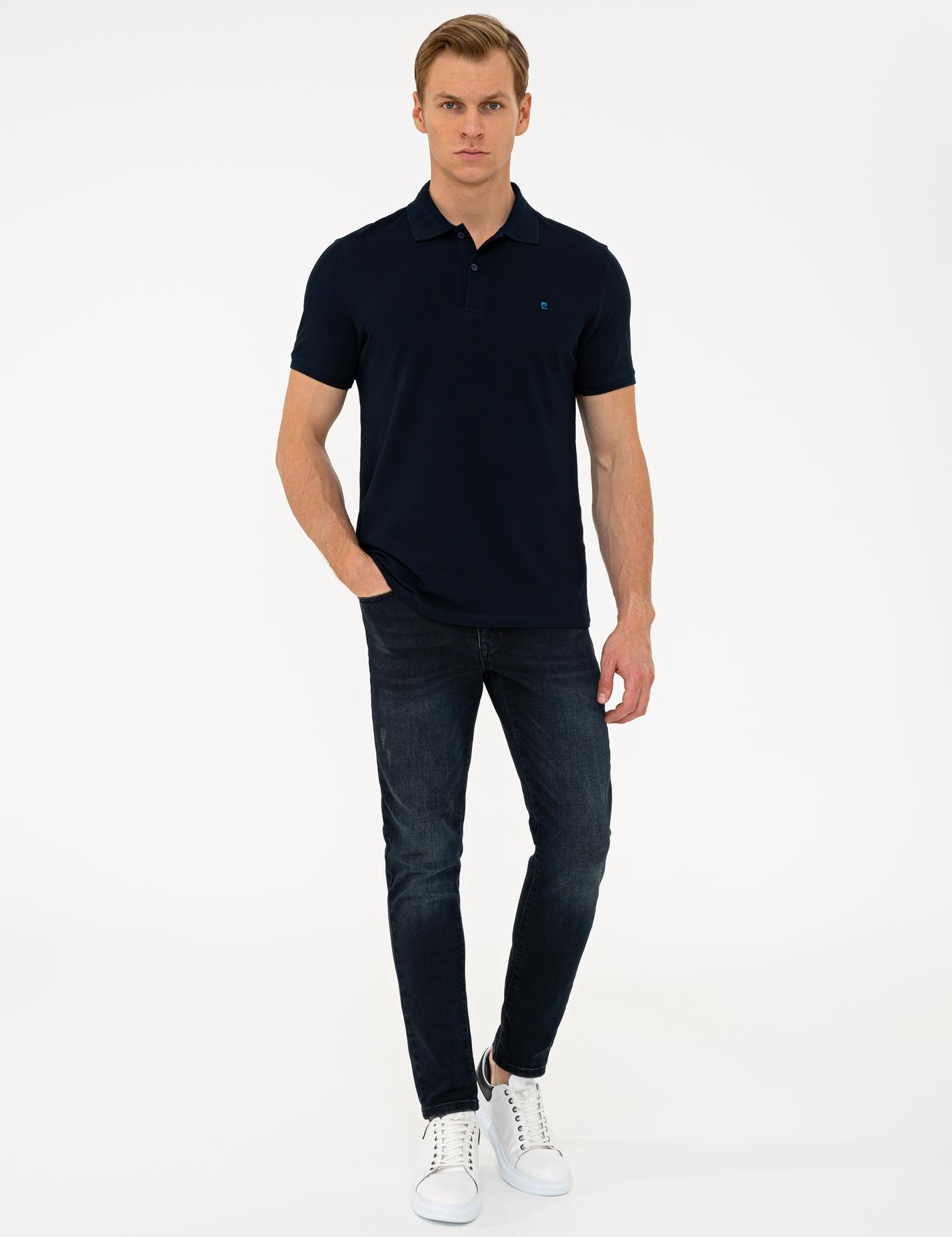 Koyu Lacivert Slim Fit Basic Polo Yaka T-Shirt