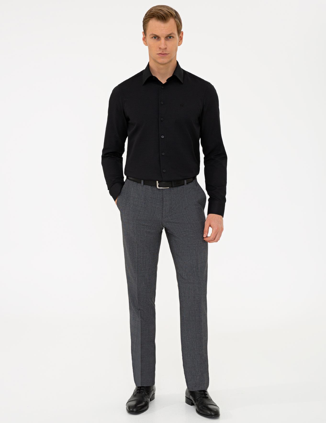 Siyah Slim Fit Armürlü Gömlek
