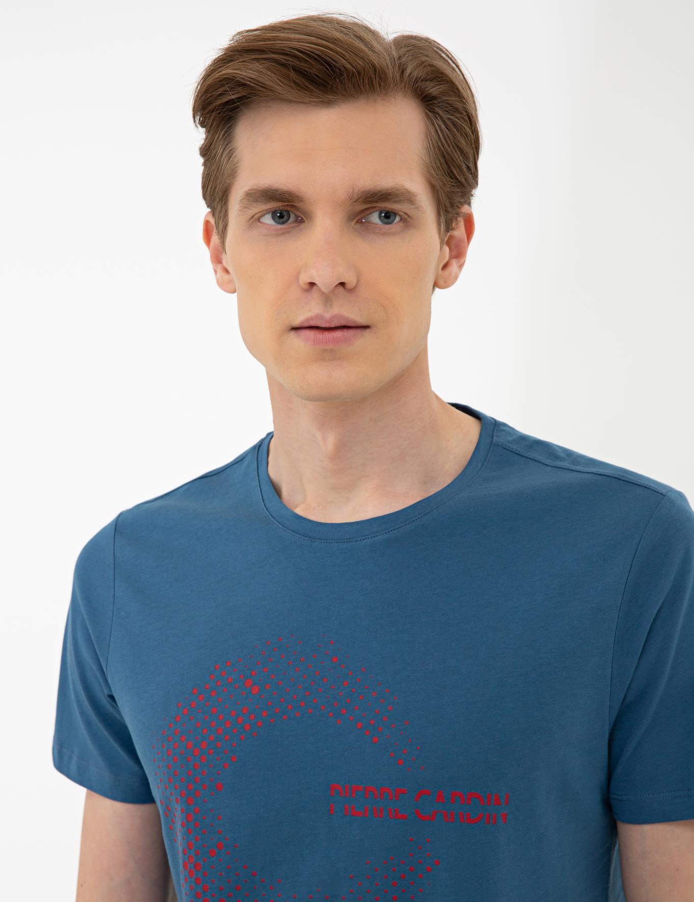 Mavi Slim Fit Bisiklet Yaka T-Shirt
