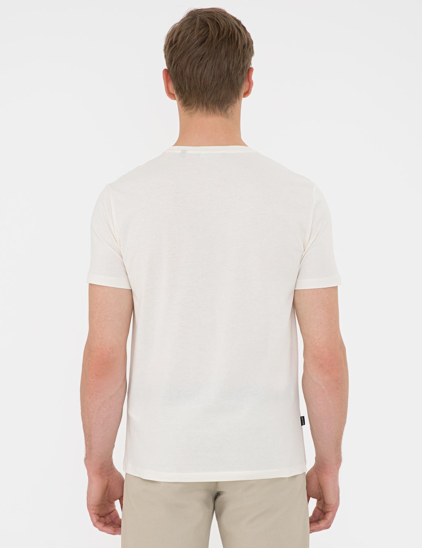 Bej Slim Fit Bisiklet Yaka T-Shirt