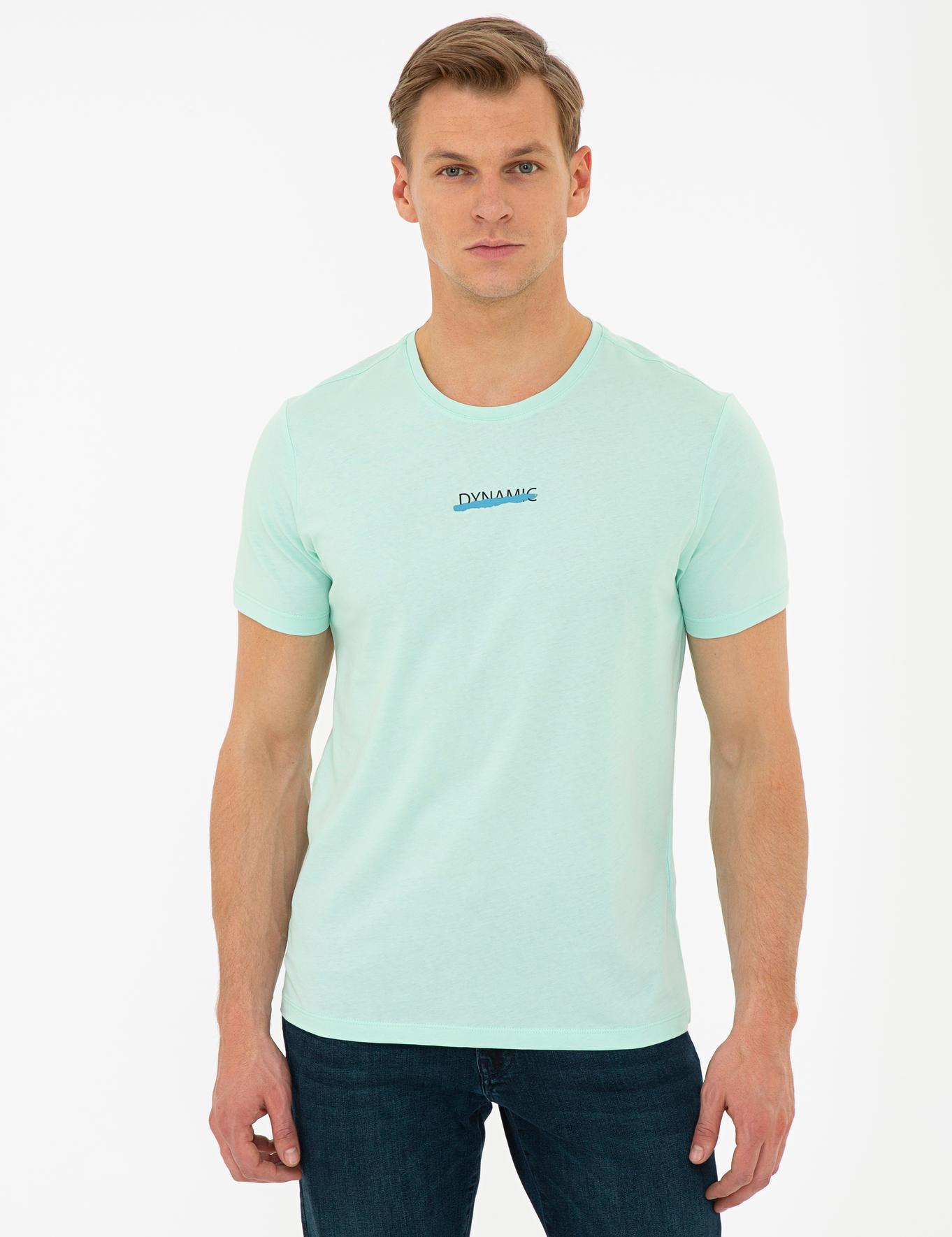 Yeşil Slim Fit Bisiklet Yaka T-Shirt