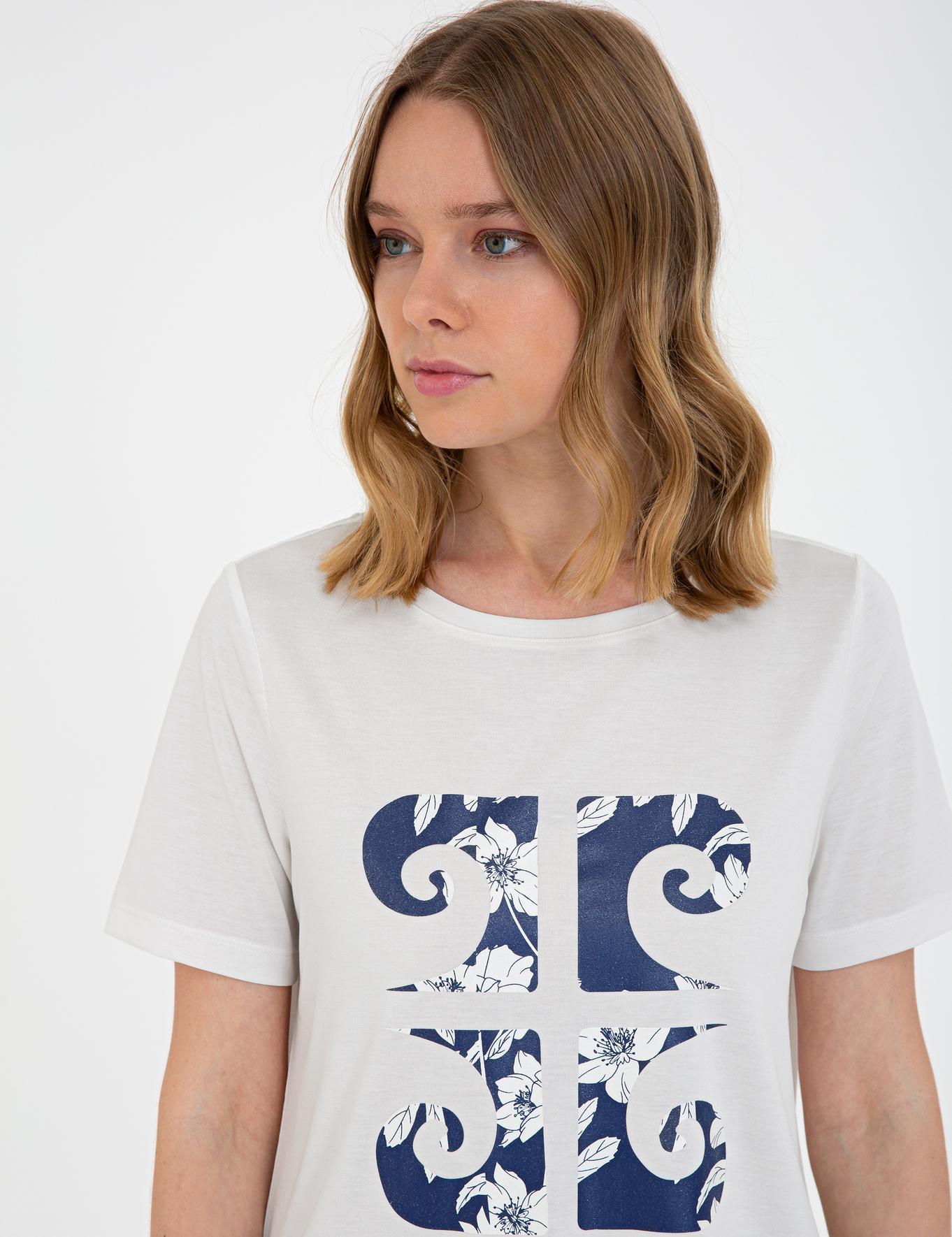 Beyaz Regular Fit Bisiklet Yaka T-Shirt