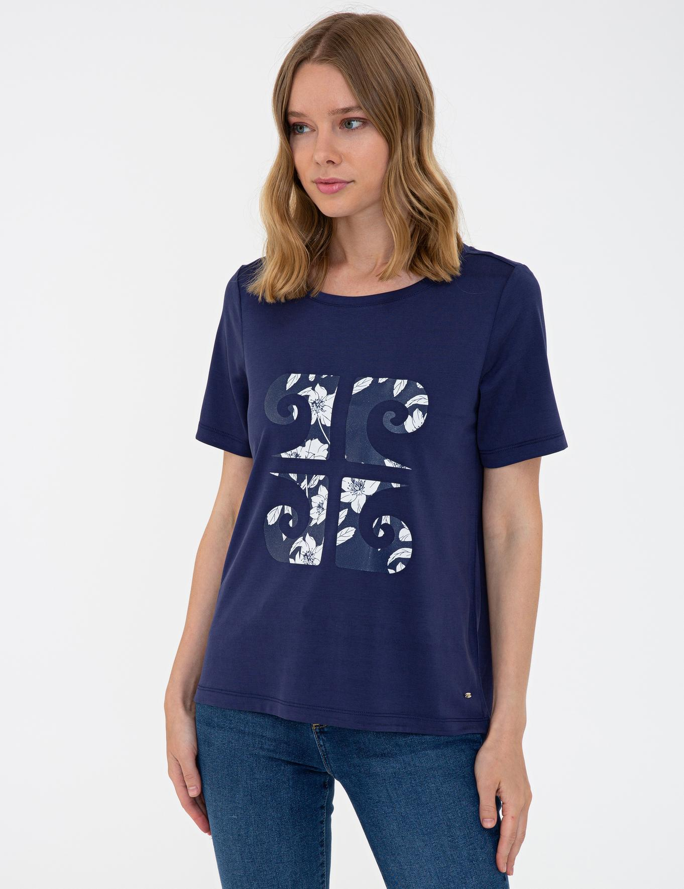 Lacivert Regular Fit Bisiklet Yaka T-Shirt