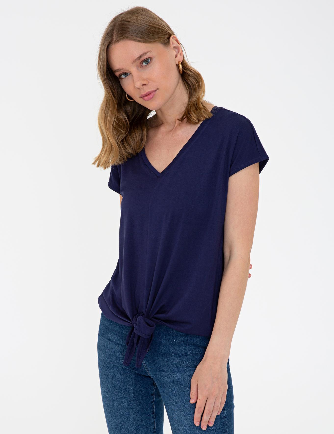 Lacivert Comfort Fit V Yaka T-Shirt