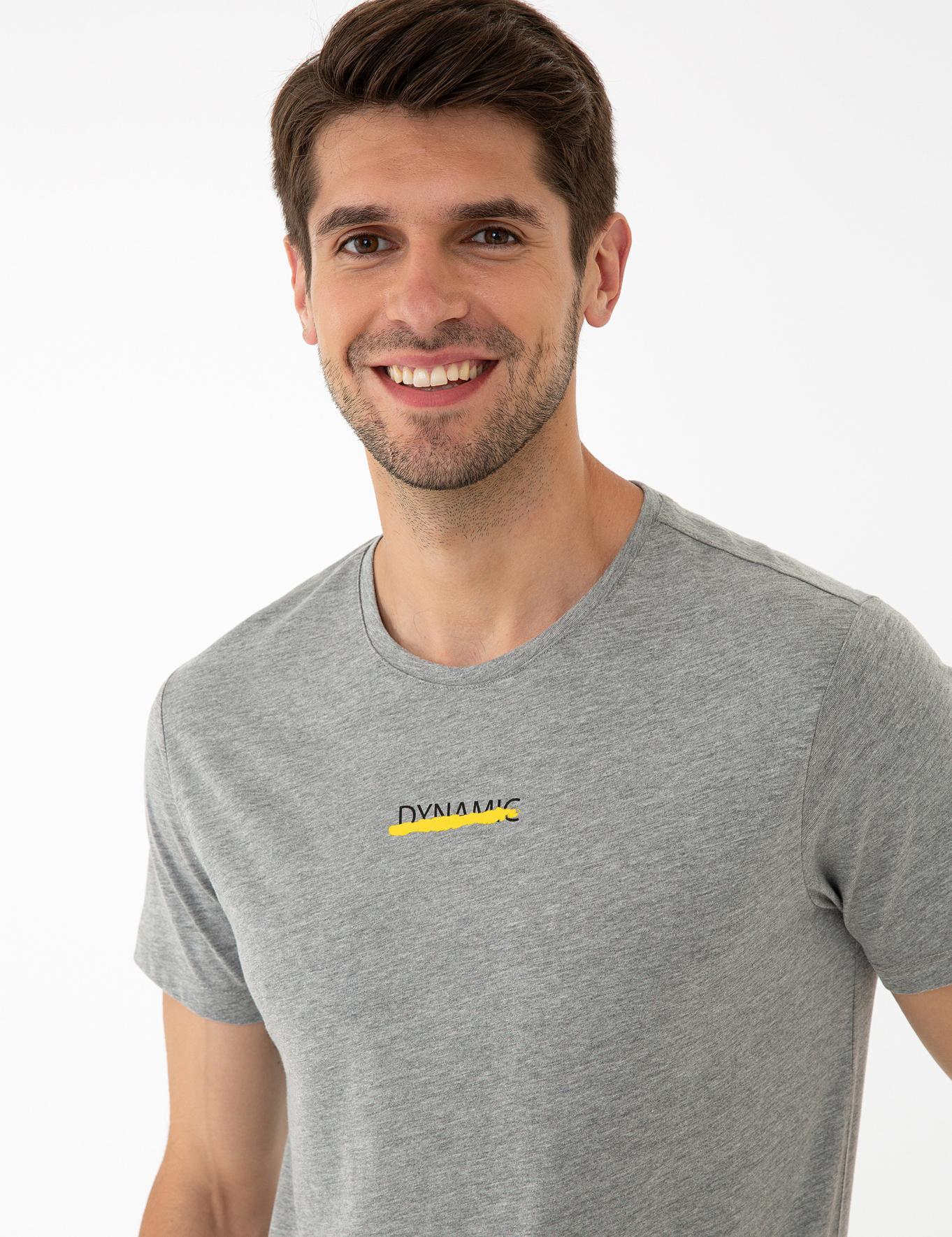 Gri Melanj Slim Fit Bisiklet Yaka T-Shirt