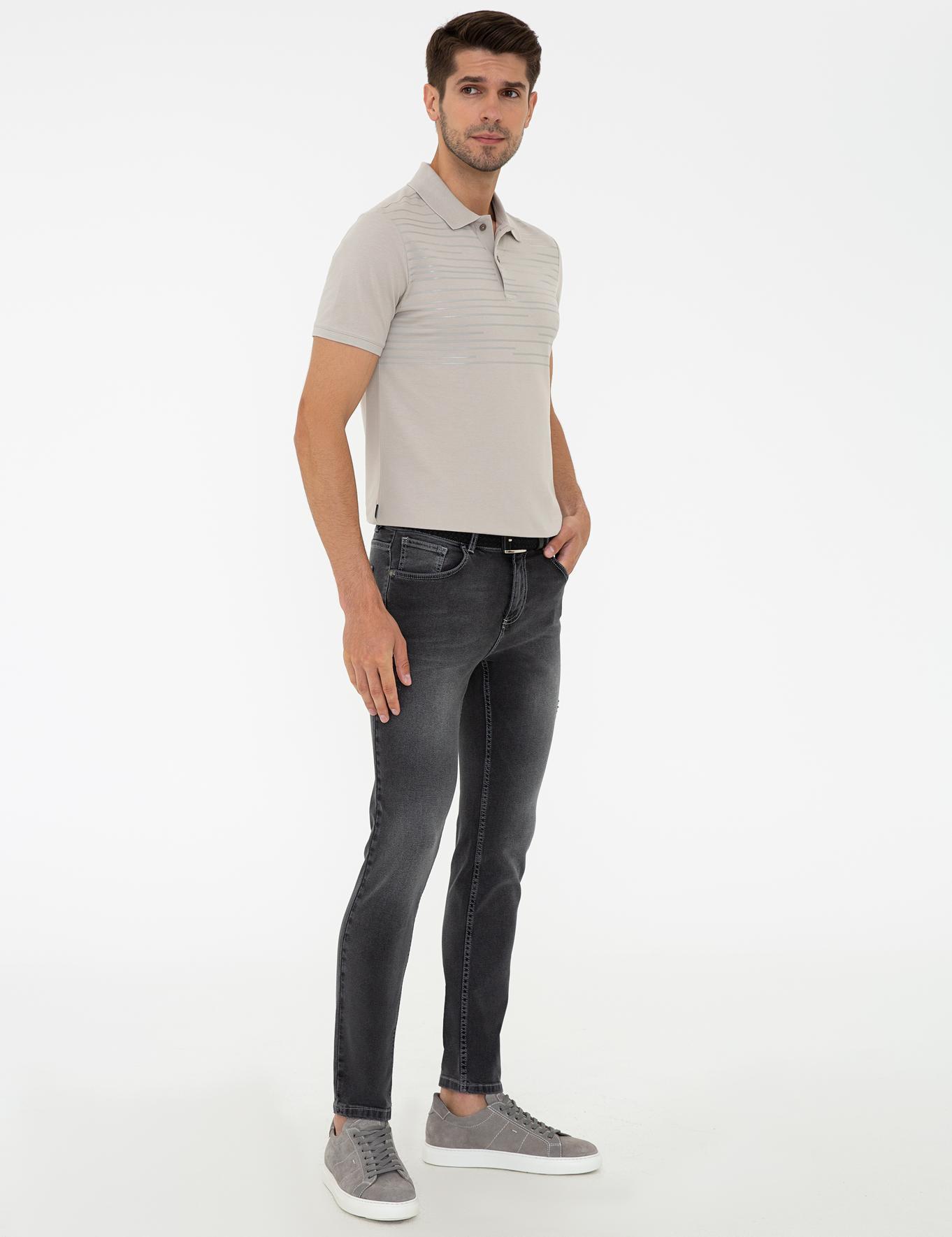 Koyu Gri Slim Fit Denim Pantolon