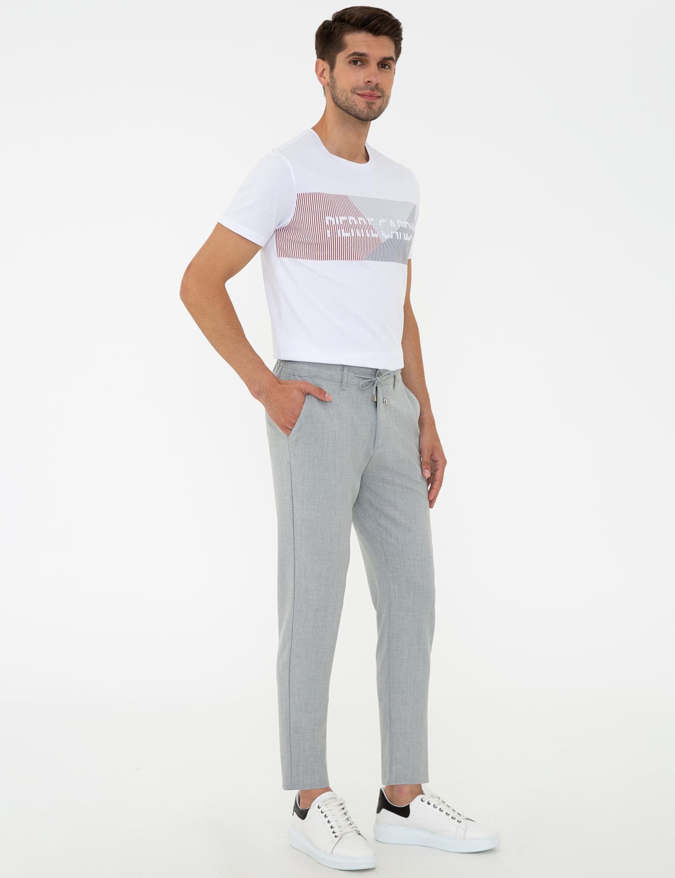 Gri Jogger Fit Chino Pantolon