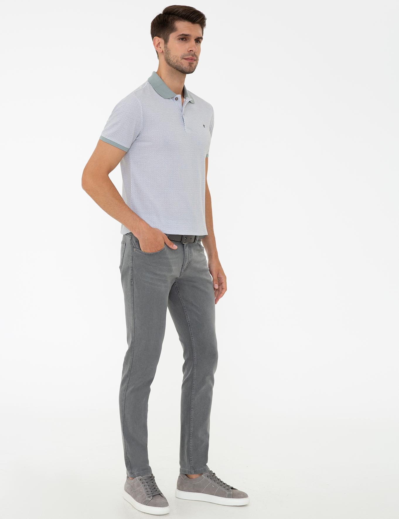 Gri Slim Fit Denim Pantolon