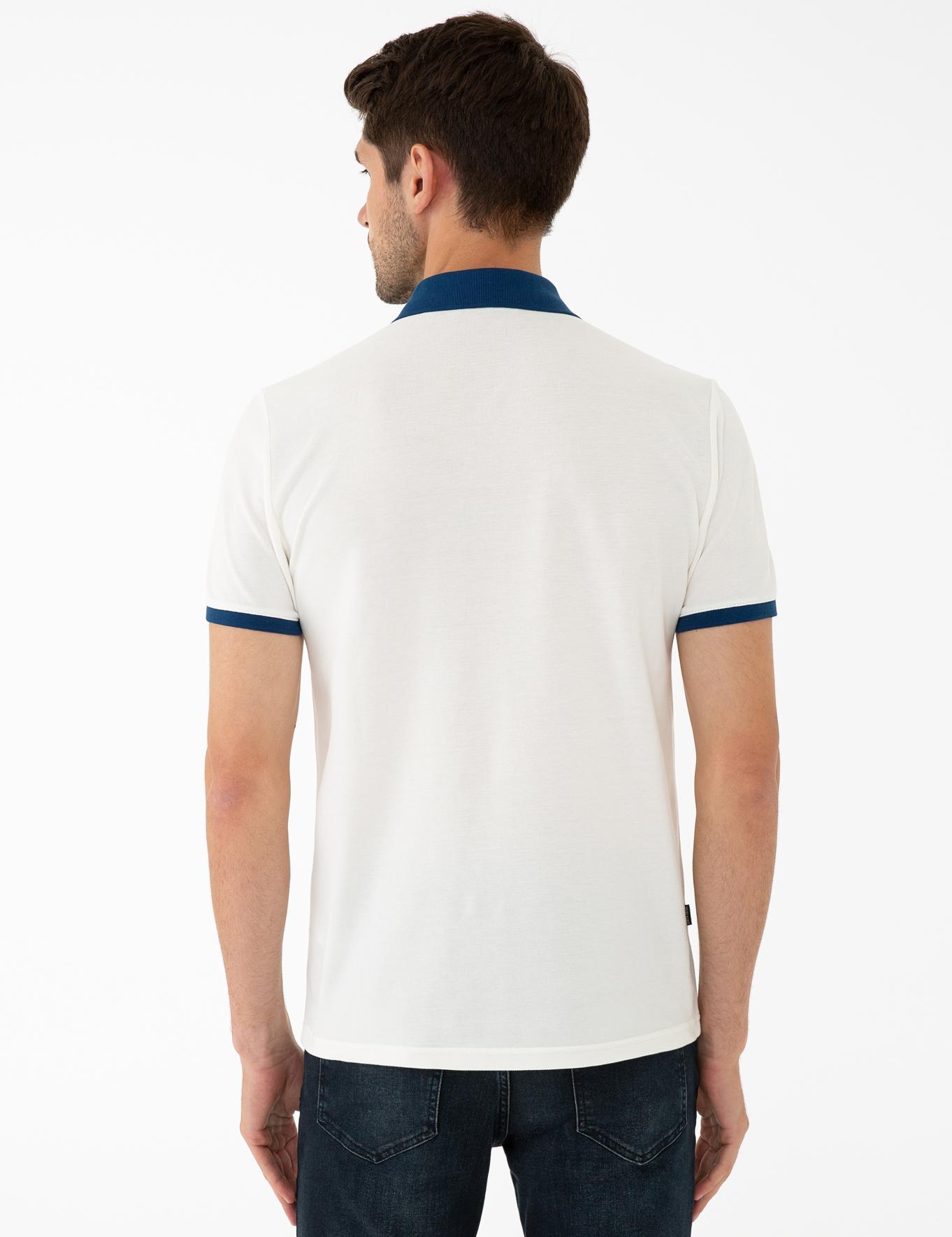 Mavi Detaylı Ekru Slim Fit Polo Yaka T-Shirt