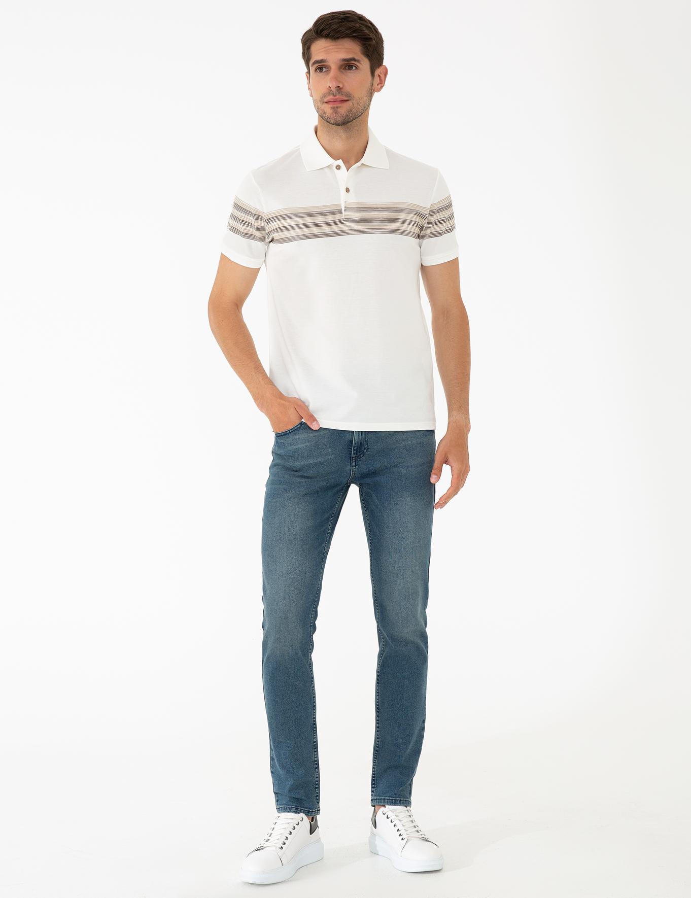 Açık Kahverengi Detaylı Beyaz Slim Fit Polo Yaka T-Shirt