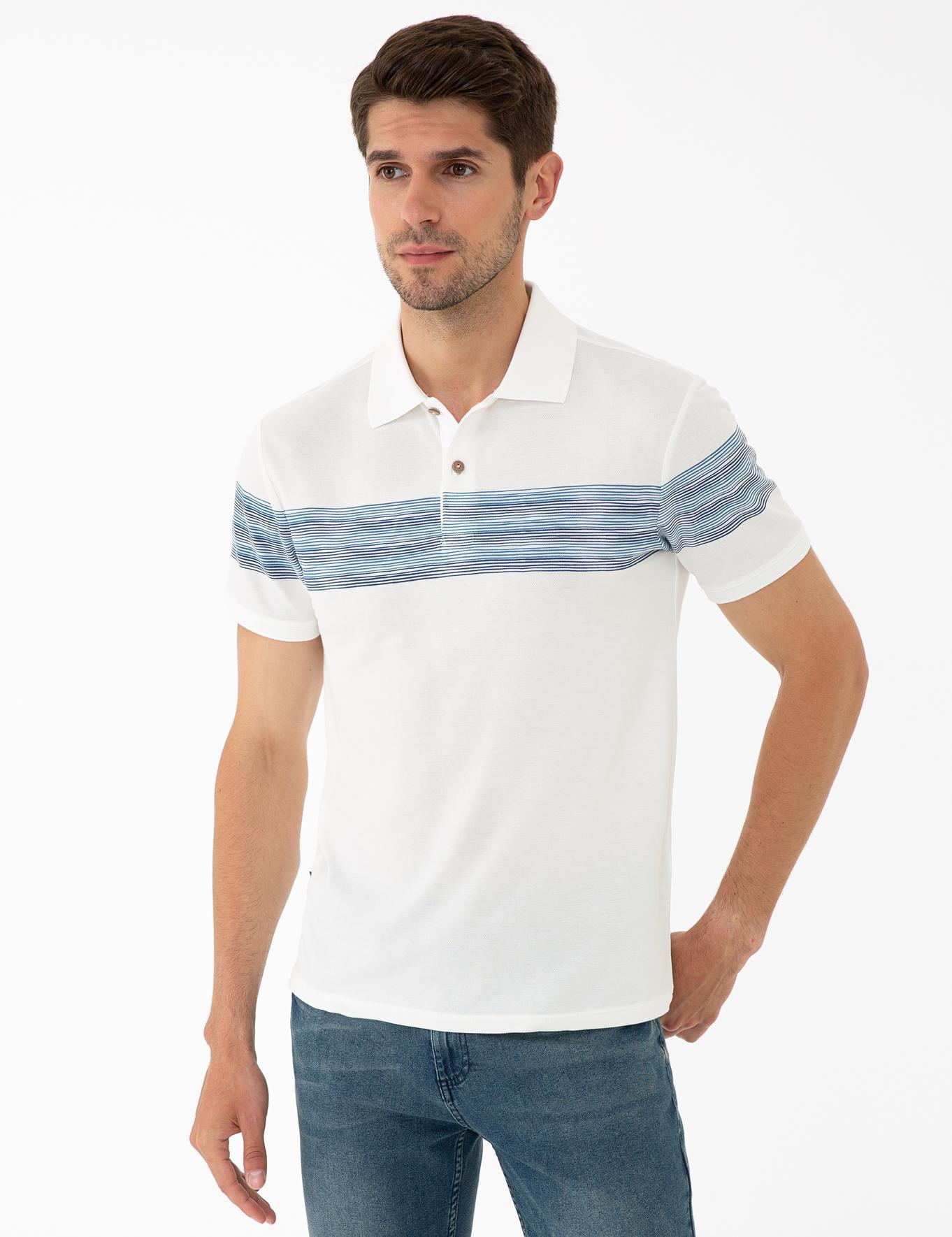 Mavi Detaylı Beyaz Slim Fit Polo Yaka T-Shirt