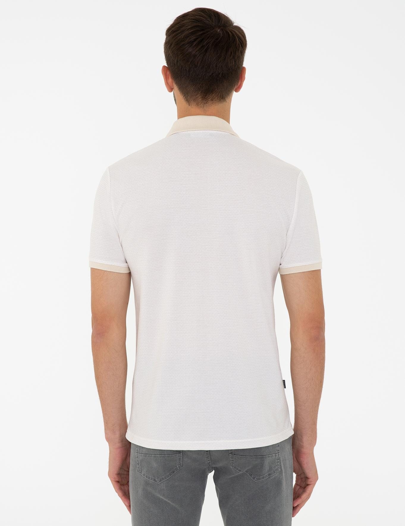 Bej Slim Fit Polo Yaka T-Shirt