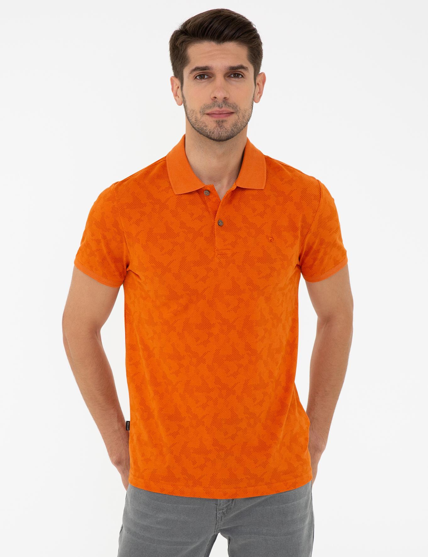 Turuncu Slim Fit Polo Yaka T-Shirt