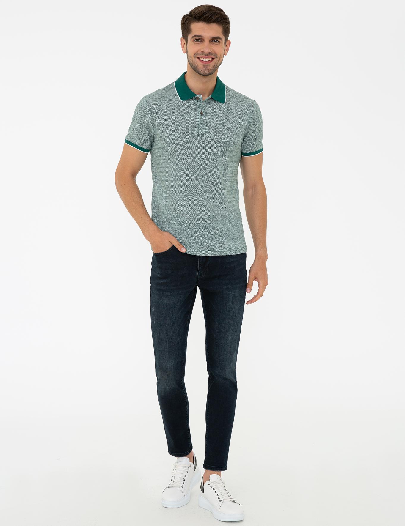 Koyu Yeşil Slim Fit Polo Yaka T-Shirt